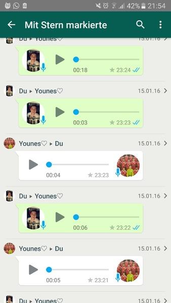Screen von mit sternchen markierten Whatsapp chats