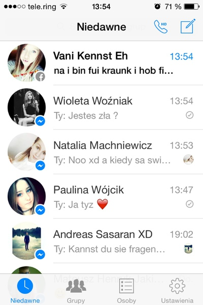 Screen z messengerq