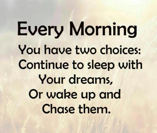 كل صباح لديك خياران  مواصلة النوم مع أحلامك  أو الاستيقاظ و مطاردتها