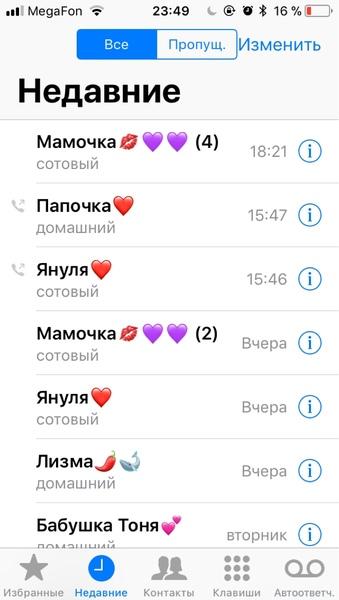 С кем ты чаще всего говоришь по телефонускрин звонков