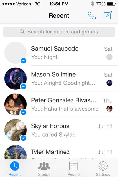 pap of fb messenger messages