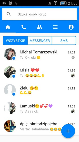 screen rozmów z messengera