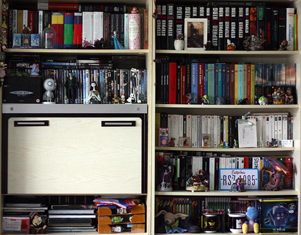 Prends une photo de la bibliothèque chez toi