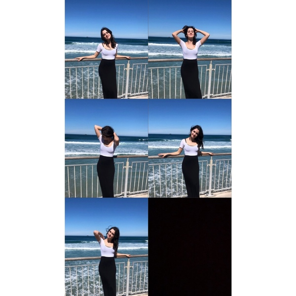 a photo saga of a girl trying to get her hair right for a beach photo she never