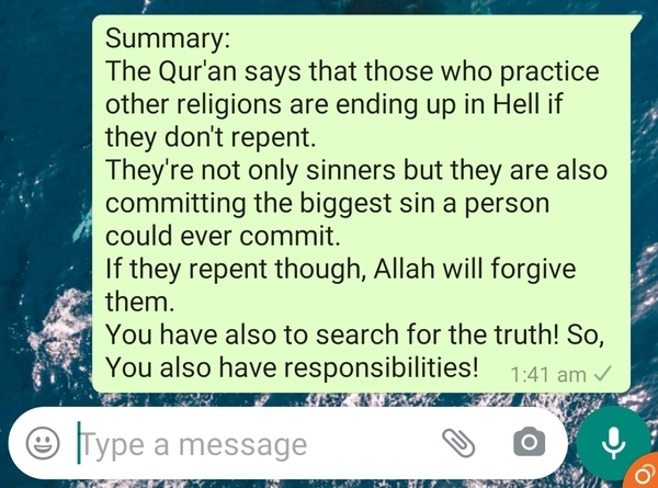 What does the Quran say about people who practice other religions Are they