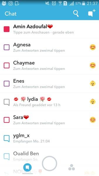 Snap Chats Screen