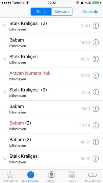 Son aramalar ss